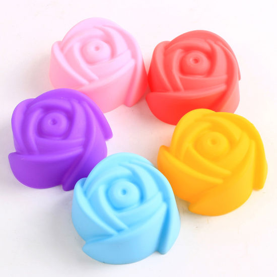 Non-Toxic Food Grade Rose Shape Silicone Baking Cake & Muffin Mould pictures & photos