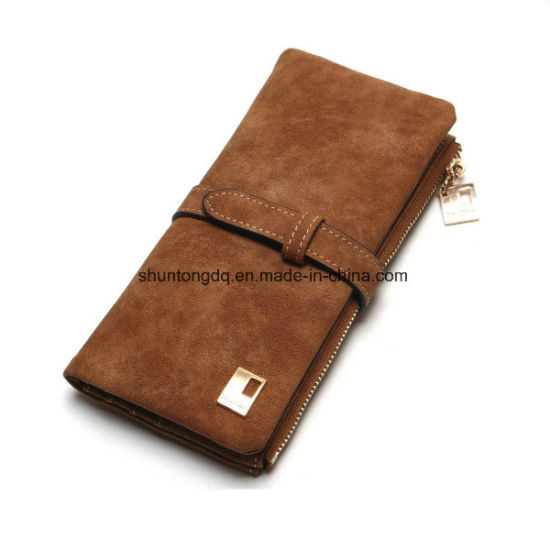 New Fashion Women Wallets Drawstring Nubuck Leather Zipper Wallet Women′s Long Design Two Fold Purse pictures & photos