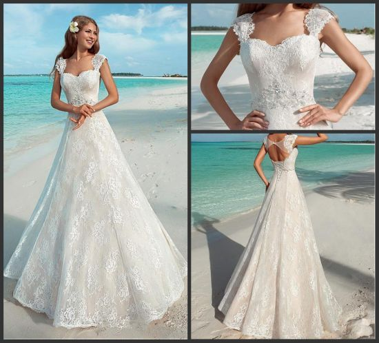 China Chantilly Lace Bridal Gowns A-Line Beads Wedding Dresses ...