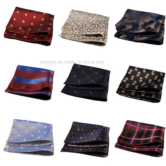 Hot Sale Pocket Square Casual Polyester Silk Striped Mens Hanky Wholesale pictures & photos