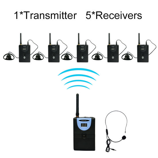 Tp-Wireless Tp-Wtg02 Wireless Tour Guide Tour-Talk System 1 Transmitter + 5 Receivers