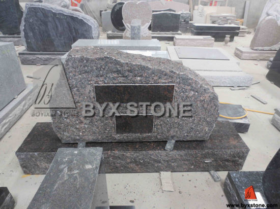 Aurora Brown Granite Headstone with Mountain Shape pictures & photos