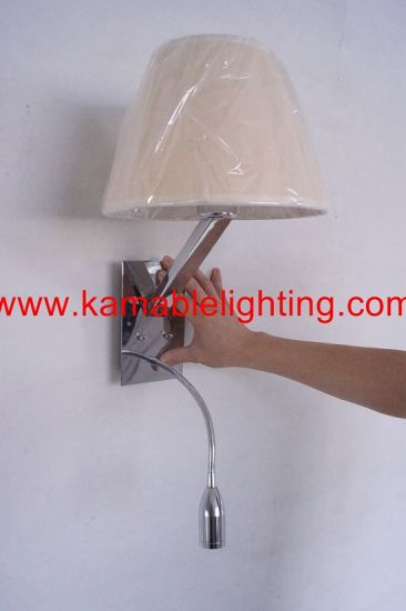 Hotel Project Bedroom Fabric Shade LED Wall Light (MB5049-B) pictures & photos