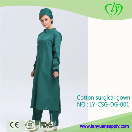 Dark Reusable Scrub Gown Cotton Surgical Clothes Resistant Workwear Sterile Isolation Gowns