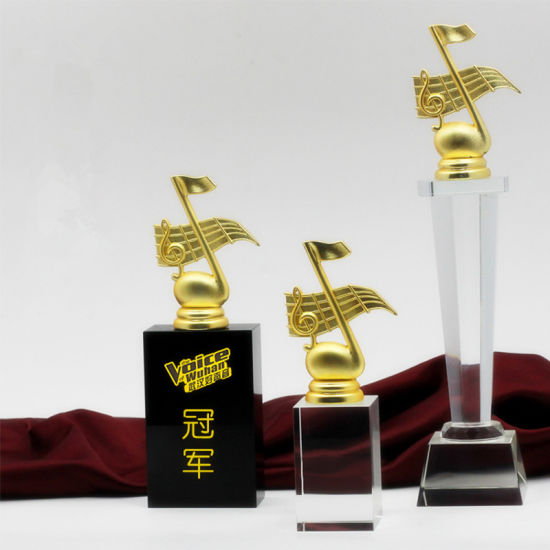 New Design Metal Crystal Trophy With Custom Logo Engrave KS04143