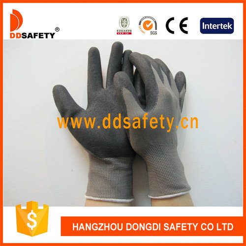 Ddsafety 2017 Hot Selling Grey Nylon Black Nitrile Glove pictures & photos