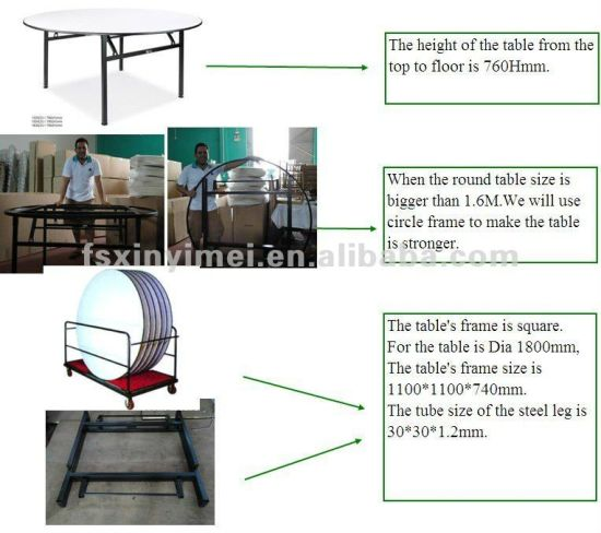 Metal Banquet Foldable Wooden Top Hotel Round Table Set, Banquet Table pictures & photos