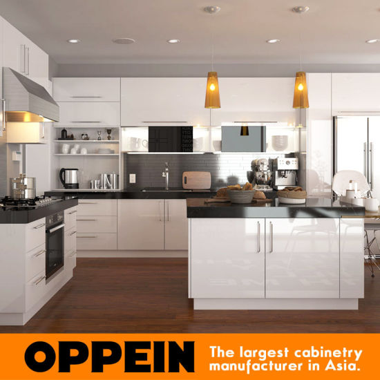 China Oppein Manufacturer White L Shaped Lacquer Wood Kitchen ...