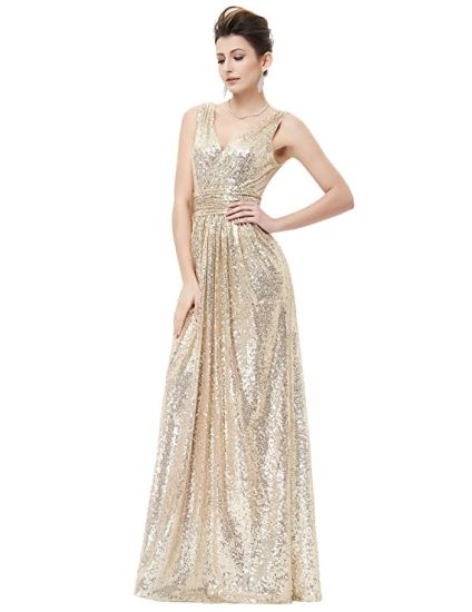 Women Sequin Gowns Bridesmaid Sleeveless Maxi Evening Prom Dresses pictures & photos