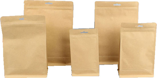 Bio Gradable Material Natural Brown Kraft Paper and Aluminum Foil Materal Flat Bottom and Gusset Sides Pouch.
