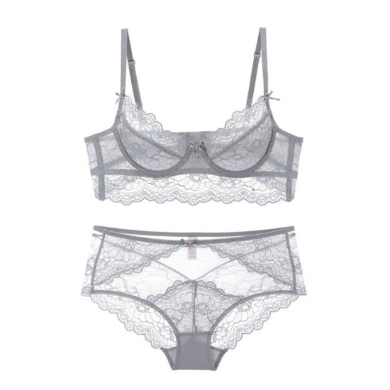 Women's Sexy Lingerie Sheer Lace Bralette Bra and Panty