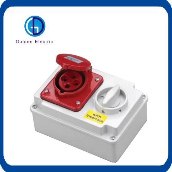 Cee/IEC Waterproof Socket with Switch and Interlock