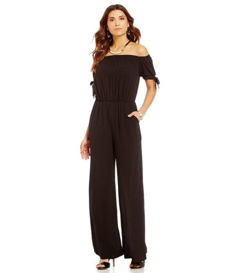 ada100e00db9 Women Jumpsuit Boat Neckline off Shoulder Chiffon Short Sleeve Romper Suit  with Lace up Front Sleeve