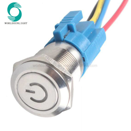 Metal LED Illuminated Latching 16mm Power Push Button ON//OFF Switch For Car 12V