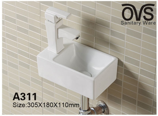 China Small Wall Hung Basin Bathroom Vanity Wash Sink China Wash