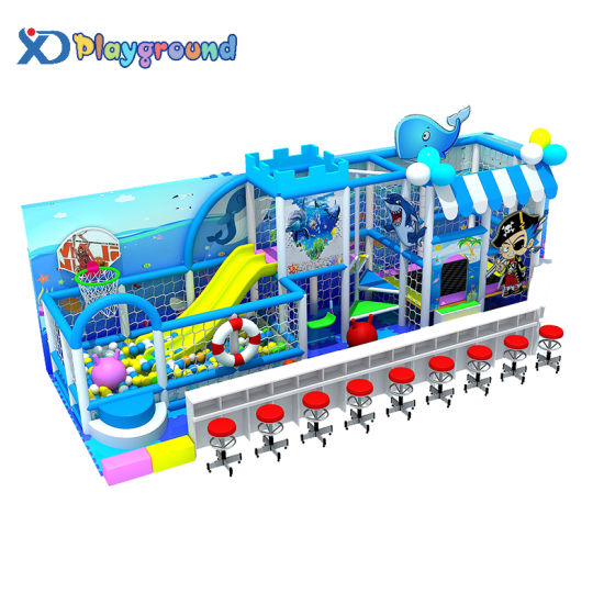 Ocean Theme Small Commercial Kids Indoor Playground with Trampoline