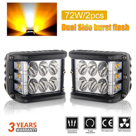 Wholesale DOT Emark Offroad High Low Beam 50W Super Bright CREE Side Shooter Cubes Pod Dual Color 4inch Strobe LED Work Light for Truck
