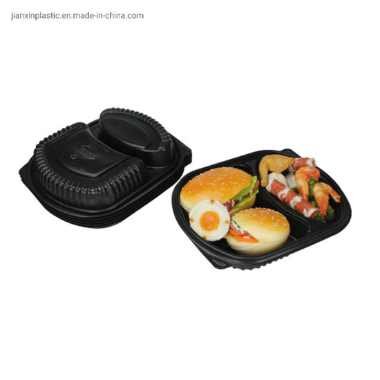 Disposable Food Lunch Box with Two Compartments pictures & photos