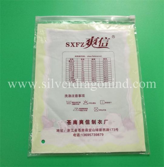 Custom Poly Plastic Ziplock Packaging Bag with Slider for Clothing Packaging