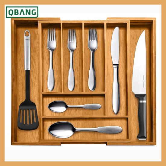 Expandable Kitchen Drawer Organizer 8 Bamboo Compartment Kitchen Cutlery Trays Silverware Storage Kitchen Utensil Flatware Tray China Kitchenware And Utiity Accessories Storage Price Made In China Com