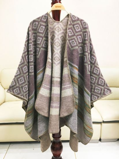 Rhombic Color Thickened Open-Forked Cashmere Shawl