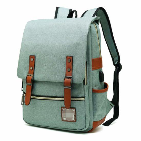 Slim Laptop Backpack with USB Charging Port, Vintage Tear Resistant Business Bag for Travel, College, School, Casual Daypacks for Man, Women