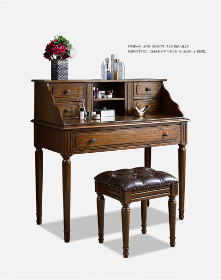 Wholesale Classical Vintage Bedroom Furniture Simple Wooden Customized Dressing Table