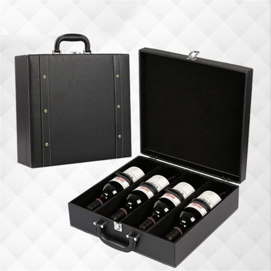 Custom PU Leather High-End Wine Box for Travel Wine Bottle Box Wine Champagne Storage Box Wine Bottle Gift Packaging