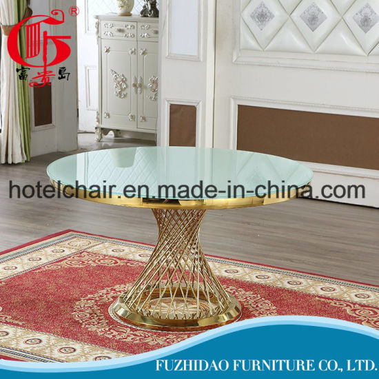 Luxury Restaurant Dining Hotel Banquet Wedding Event Furniture Round Table with Glass Top pictures & photos