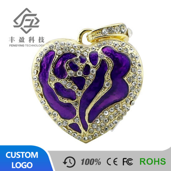 Real Capacity Jewelry Flowers Heart USB Flash Drives 8GB 16GB Memory USB Flash 2.0 Memory Drive Stick 64GB 32GB Pendrive Mini pictures & photos