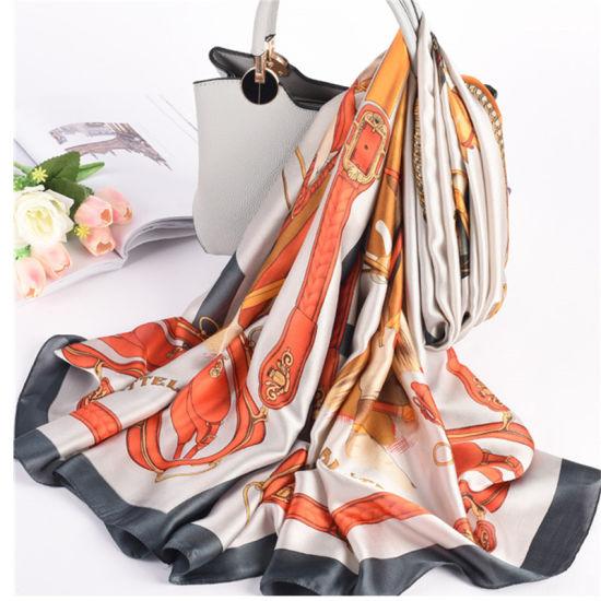 2019 Hot Sell Digital Printed Fashion Long Silk Indian Scarf