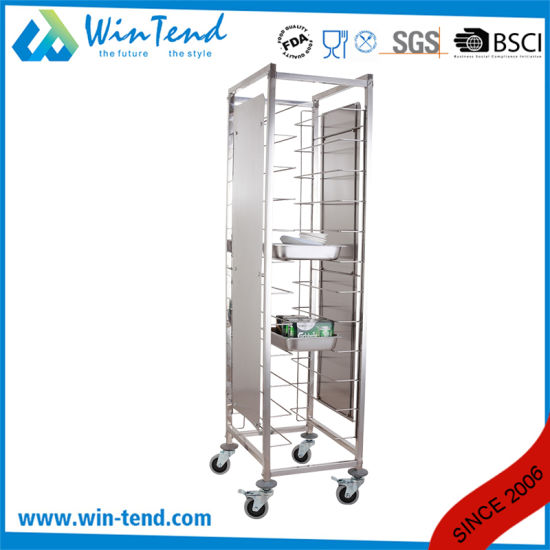 Hot Sale Commercial 12 Tiers Dual Rows Double Tray Clearing Rack Trolley Without Side Panels pictures & photos