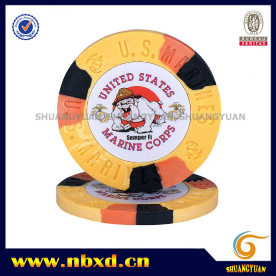 9.5g 3color Pure Clay Marine Corps Sticker Chip (SY-C05-1) pictures & photos