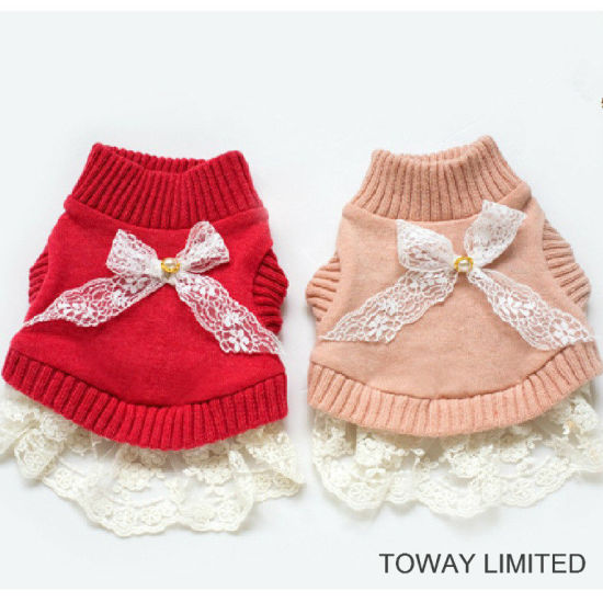 Design Dog Clothes Cute Bowtie Lace Knitting Pet Sweaters Dress
