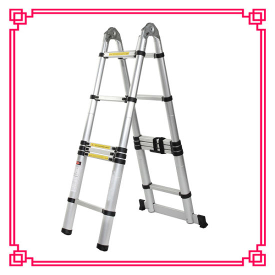 Double Aluminum Telescopic Ladder /Extension Ladder pictures & photos