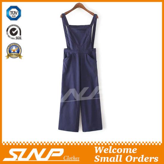 Factory Wholesale Women Suspender Trousers Denim Pants