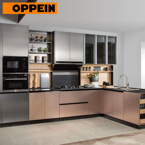 Oppein Metal Color L Shape Modern Kitchen Designs for Small Kitchens
