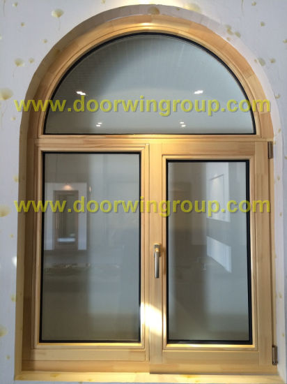 china solid timber double glazing window arched solid wood window