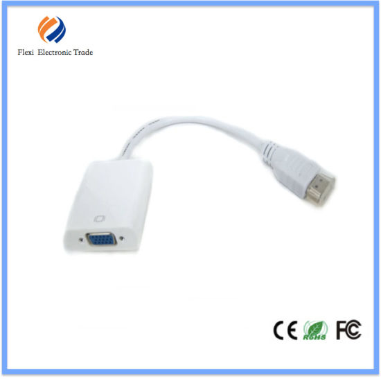 25cm White Color HDMI Converter Wholesale HDMI to VGA Adapter