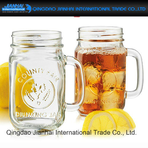 Clear Glass Bottle Mason Jar with Handle and Screen Printing