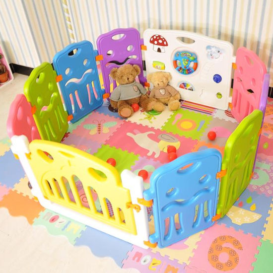 Baby Playpen Kids Activity Centre Safety Play Yard Home Footloose Indoor Outdoor Multicolor Rubber Anti-Skid Fence Healthful Safety