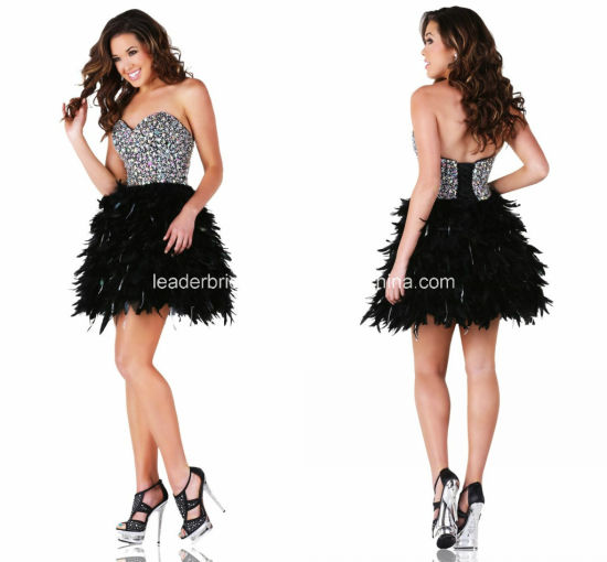 Feather Evening Gown Crystals Short Party Prom Coctkail Dresses Z9046