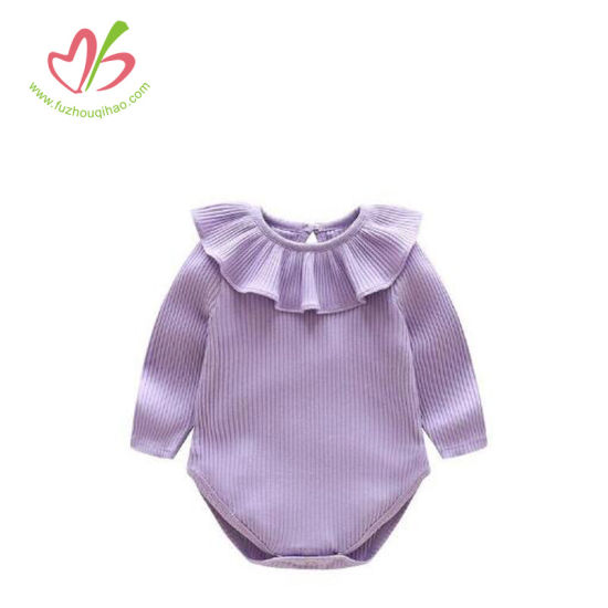e0299dca7 China Solid Color Long Sleeve Sweet Baby Girl Ruffle Romper - China ...
