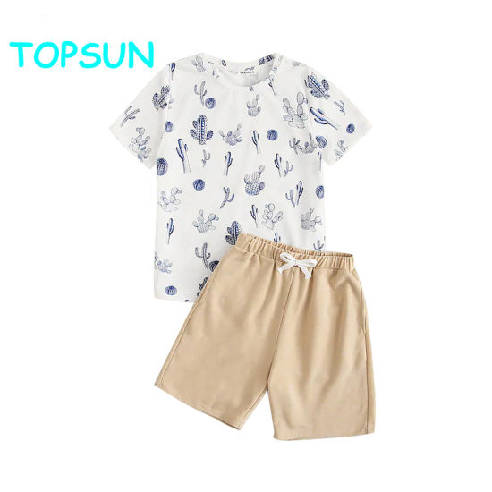 Boys Cactus Print Top& Shorts Kids Pajamas 100%Cotton Kids Pyjamas Children Clothes pictures & photos