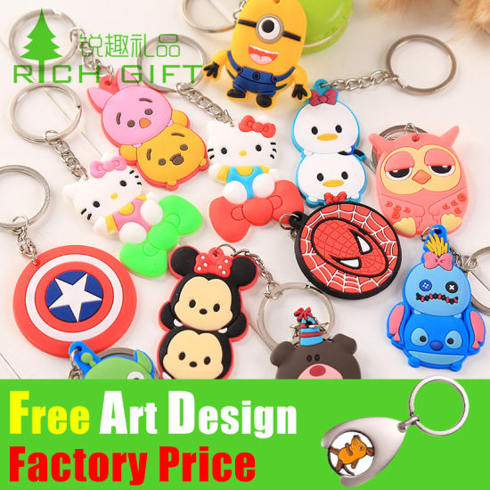OEM Custom Fruit Animal Horse Car Metal Soft PVC Real Leather Band Plastic Keychain for Promotional Gift