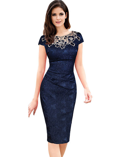 European and American Embroidery, Stitched Elastic Hip-Wrapped Pencil Lady Dress