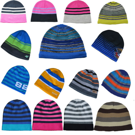 Custom New Style Striped Winter Leisure Beanie Knitted Hat
