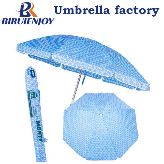 220 Cm Blue Red Aluminum Sunshade Garden Beach Umbrella Upf 50+