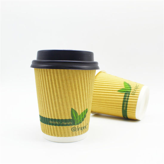 Personalized Disposable 8oz 12oz Ripple Wall Kraft Paper Cup pictures & photos