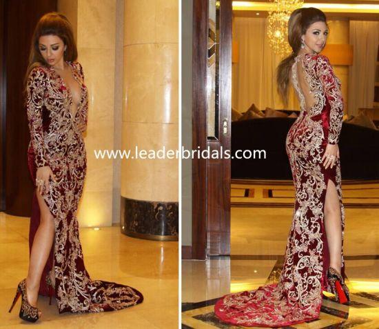 Backless Prom Dress Side Split Arabic Evening Dresses Embroidery Celebrity Dress Yao77